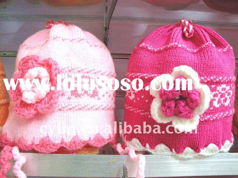 2012 Fashion girl's knitted spring flower hat