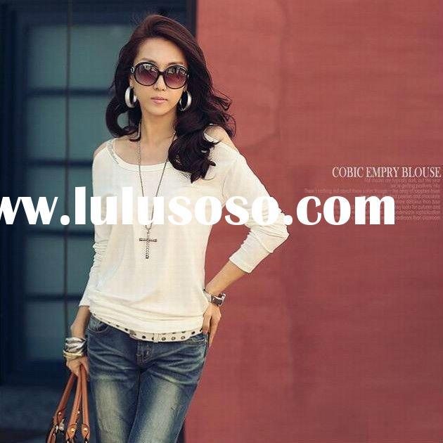 2012 New Design Ladies Off the Shoulder Blank Cotton Tshirts