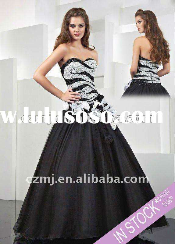 2012 Spring black and white beaded sweetheart ball gown