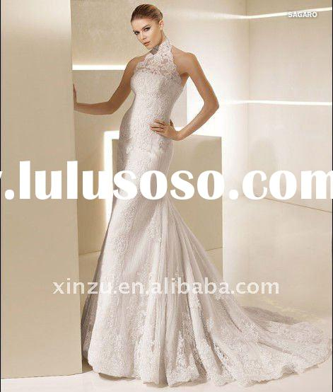 2012 Strapless Halter Mermaid Ivory Black Lace Wedding Dress T-3009