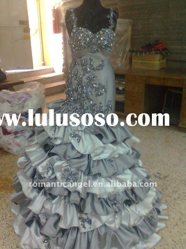 2012 new style A-line spaghetti strap grey and white wedding dress