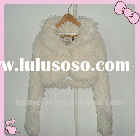 2012 womens fashion white leather fur short jacket