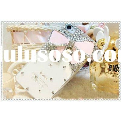 3d Bling Crystal Bow Transparent Case for Apple iphone 4 4g 4s