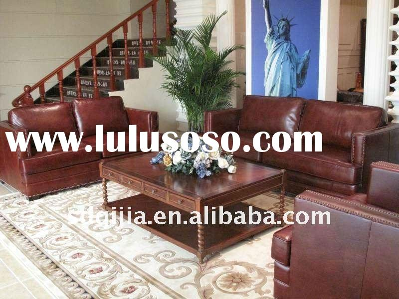 Antique Red American Style Genuine Leather Sofa Set Design