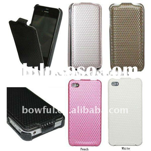 BF-MP010(1) For iPhone 4 Carbon Fiber Mobile Phone Leather Case