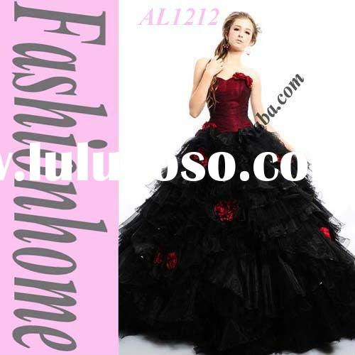 Ball Gown Black Red Quinceanera Dress with bolero AL1212