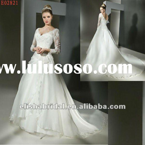 Ball Gown Organza Floor length Chapel Train Long Sleeve Lace Wedding Dresses
