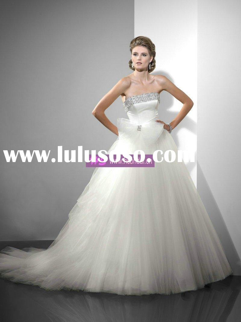 Ball Gown Strapless Chapel Train Tulle Wedding Dress 2010 Style