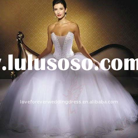 Ball Gown White Tulle Beading Arabic Wedding Dress Hot