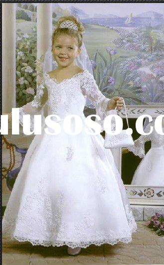 Beautiful long sleeve ball gown lovely flower girl dress with laceYS-1044