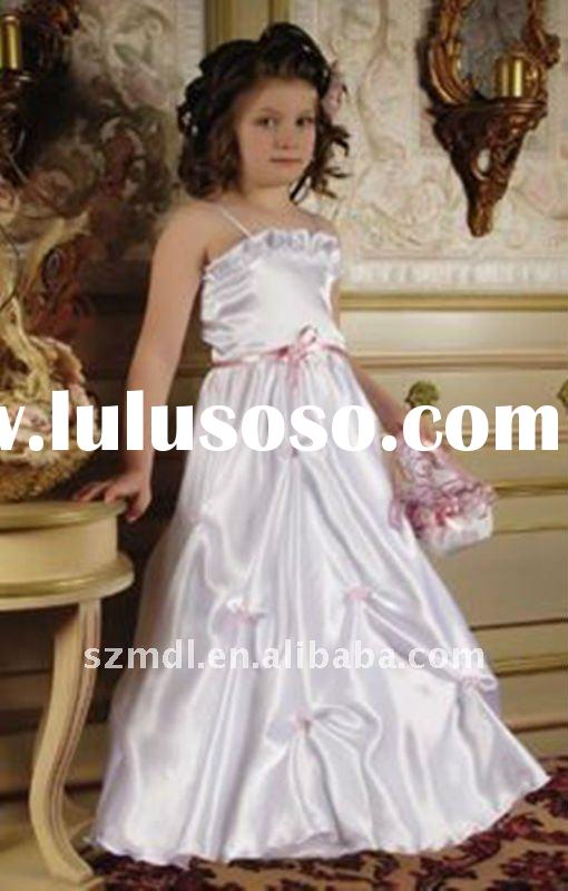 Beautiful spaghetti strap pure white with pink sash long princess ball gown flower girl dress