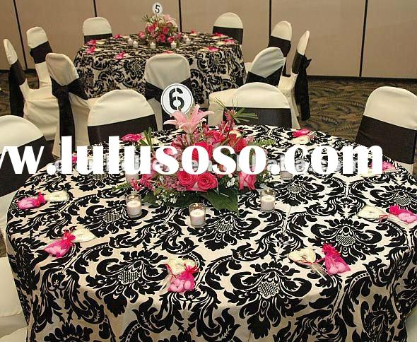 Black And White Damask Tablecloth Pattern Table Linen For