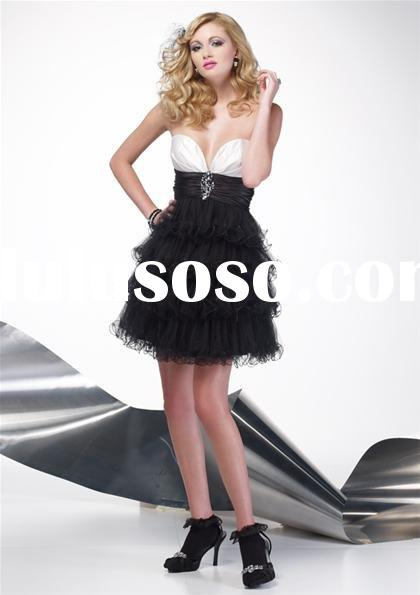 Black and white strapless short prom dress A4143