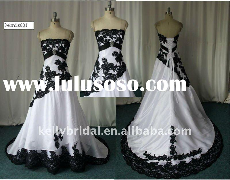 Black lace appliqued, New Bridal Gown black and white wedding dress