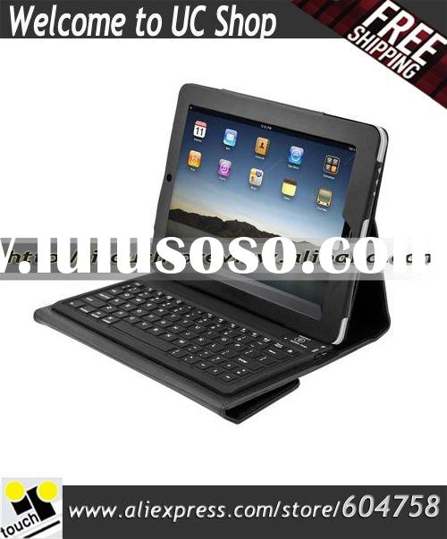 Bluetooth Wireless QWERTY Keyboard and Leather Case For iPad (Black)