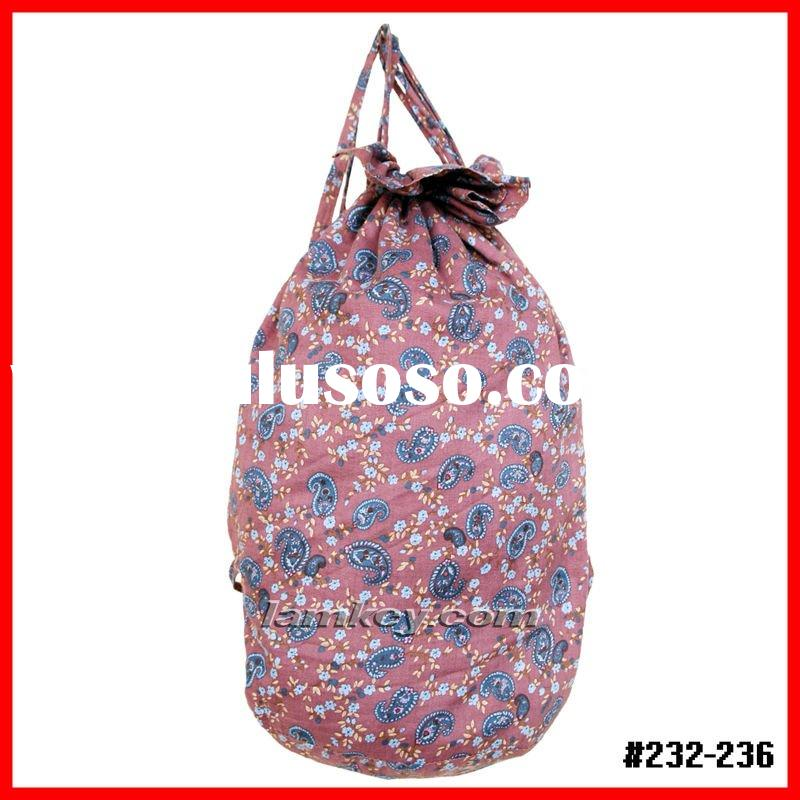 Canvas Ladies Drawstring backpack,Fashion lady floral cotton beach bag, Drawstring style beath bags.