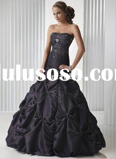 Charming black strapless ball gown prom dress MAE-001