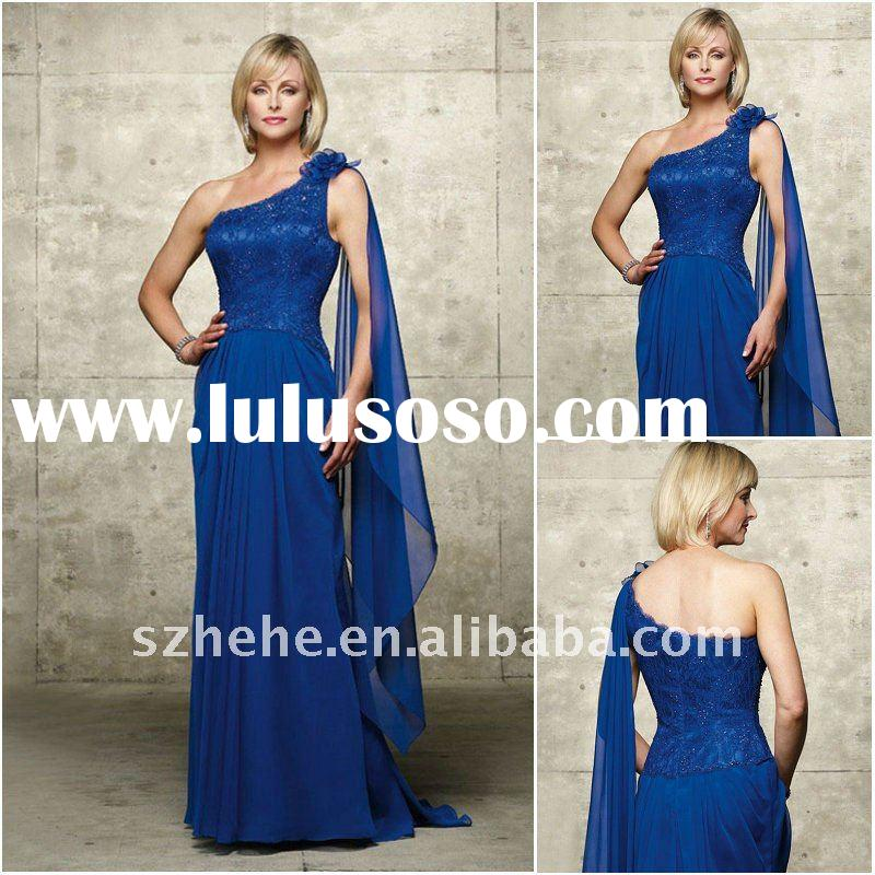 Chiffon one shoulder royal blue mother of the bride dresses