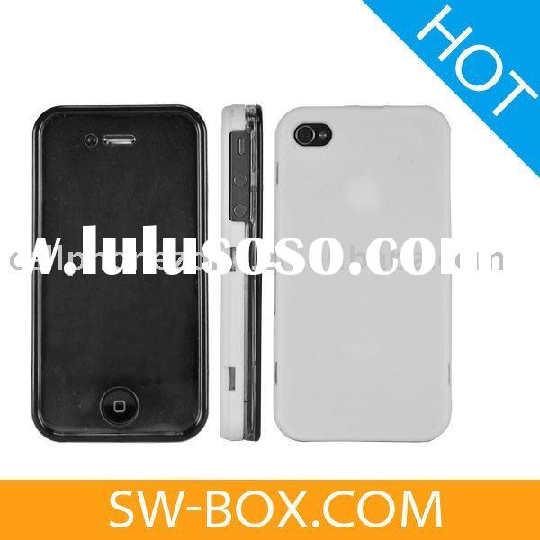 Crystal Case Cover with Screen Protector Frame for iPhone 4 (White) - Front and Back /For iphone 4g