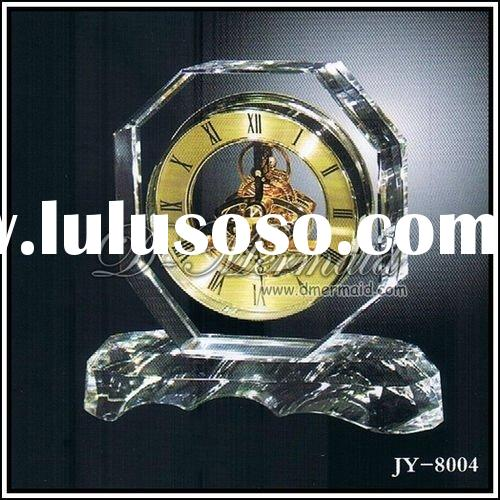 Crystal clock,business gift,visible movement with OEM logo