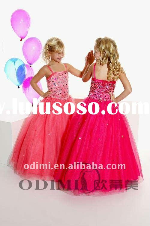Cute Red Tulle Ball Gown Pageant Children Party Dresses
