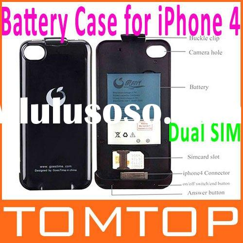 Dual SIM Card Dual Standby Backup Battery Case/Power/Cover for iPhone 4