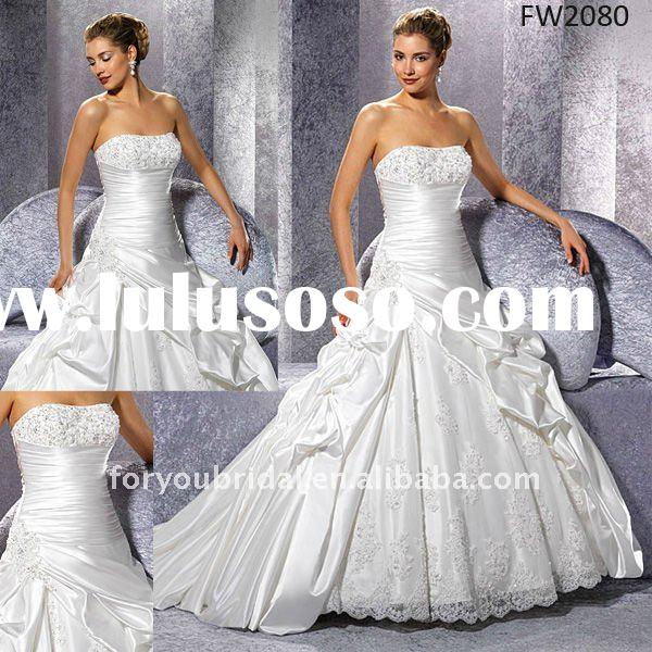 FW2080 Sleeveless Floor Length Lace Satin 2012 Wedding Dress