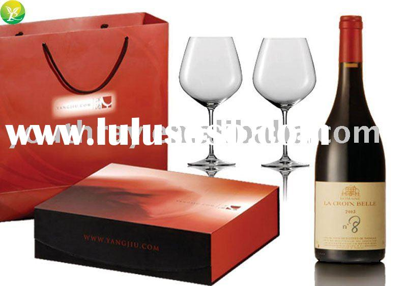 Fancy red wine&glass goblet packaging paper box