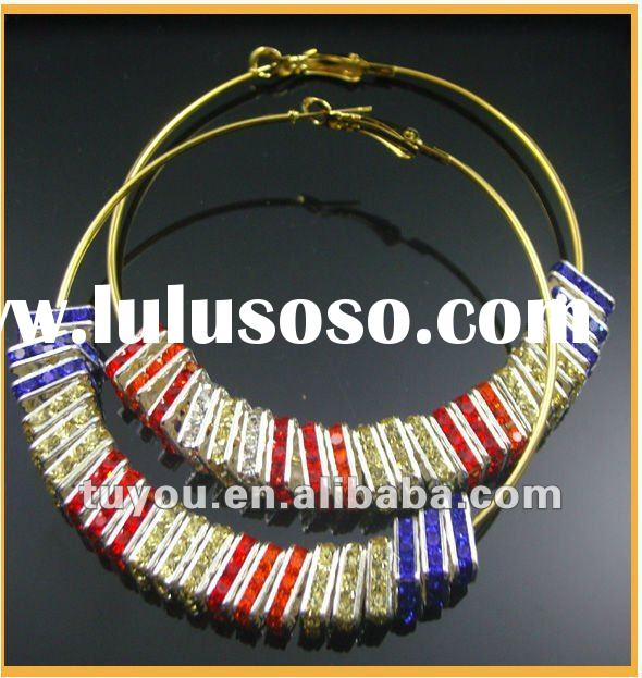 Fashion Basketball Wives Rhinestone Crystal Ball Hoop Earrings Wholesale (TY-E12136)