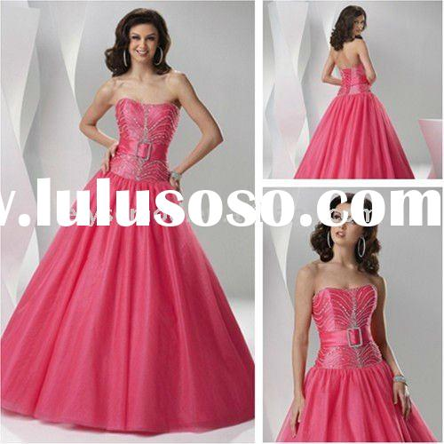 Fashion Strapless Taffeta Tulle Ball Gown Beaded New Prom Dresses