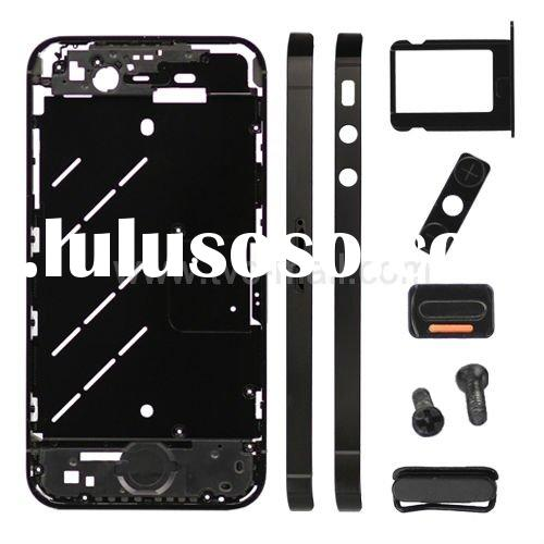 For iPhone 4S Metal Middle Plate + Buttons + SIM Card Tray + Phillips Screw - Black