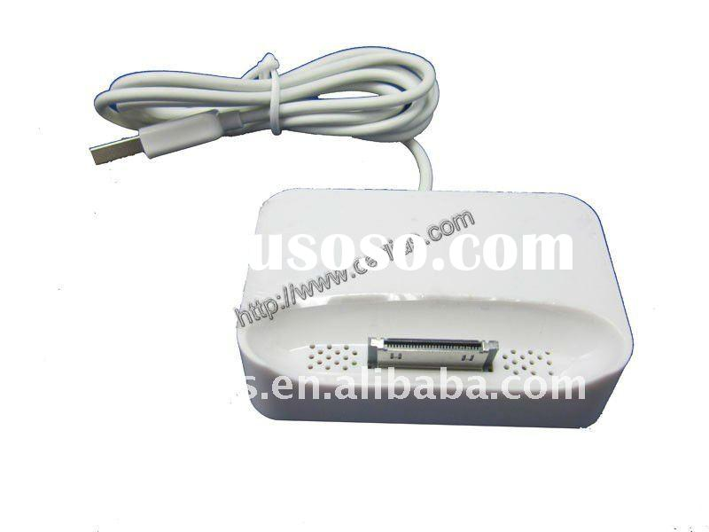 For iPhone 4 4S 4G White USB Desktop Dock Charger With Data Sync Cable (2 in 1)