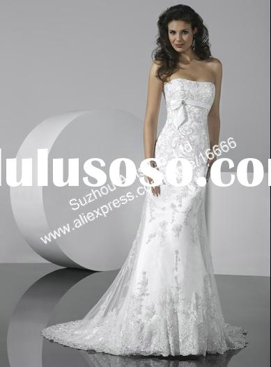 Free shipping BN508 2011 Strapless Sheath White lace Wedding Gown For bride