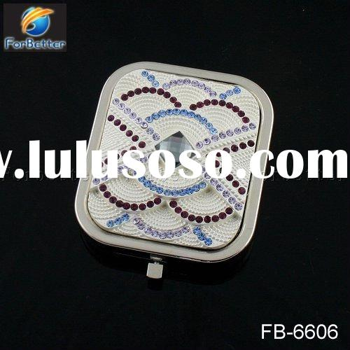 Freeshipping Hot selling Fashion Square Silver Makeup Double Sided Square Crystal Compact Mirror . F