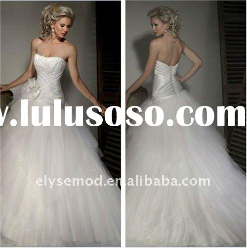 Fresh Looking Strapless Ball Gown White Tulle Asymmetrically Designer Wedding Dress