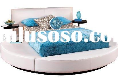 Modern leather big round bed a6009 1 for sale price for Round bed designs with price