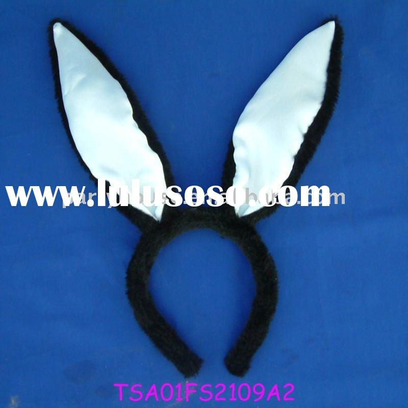 Hen Party Black plush White Satin Long Rabbit ears headwear