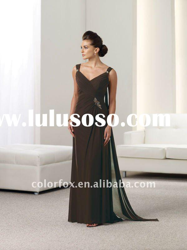 Hot Sale Cocoa Hand-beaded Mother of the Bride Dress