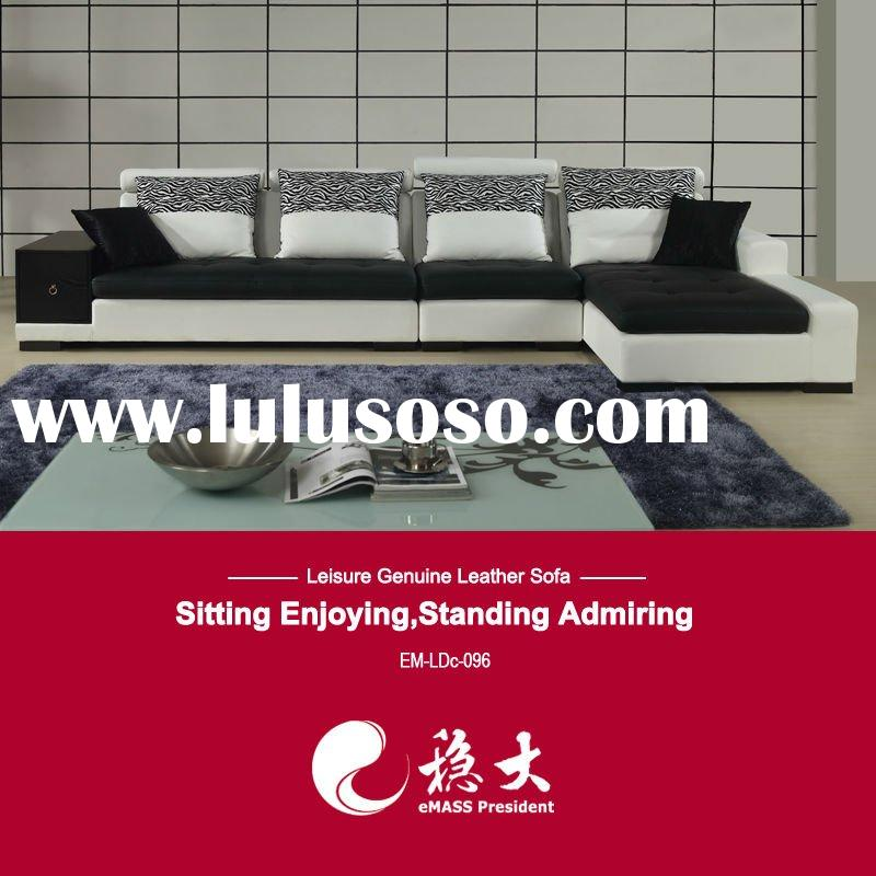 Hot black and white leather sofa LDc096