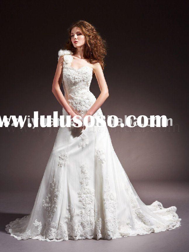 Hot sale new style elegant one shoulder silk lace bridal wedding dress gown 2011