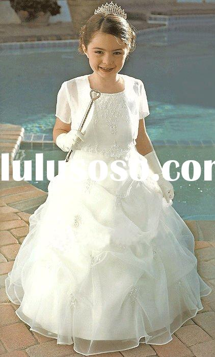 Hot sale short sleeve ball gown princess flower girl dress