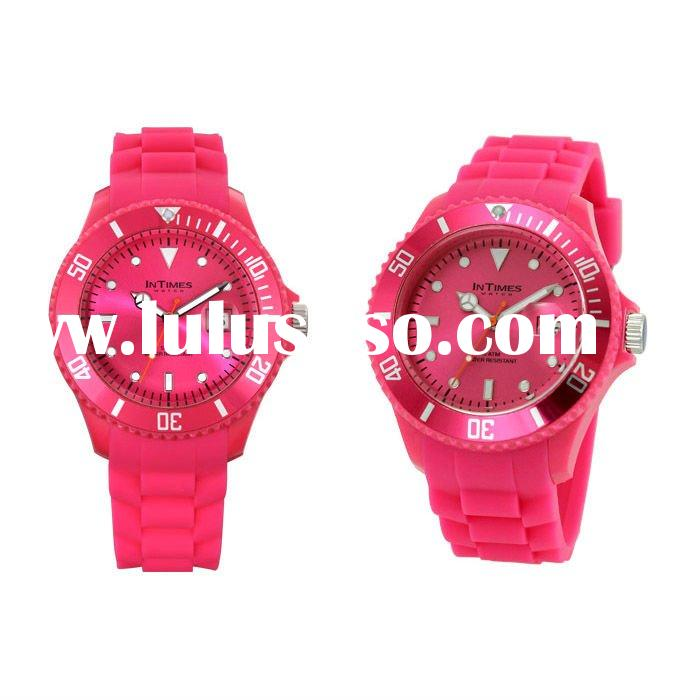 INTIMES 2012 Hot selling and wholesale silicone watches (Flora pink)