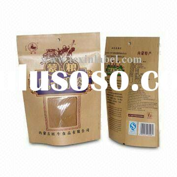 Kraft paper bag, Stand-up Packaging Bag with Zipper for dried beef