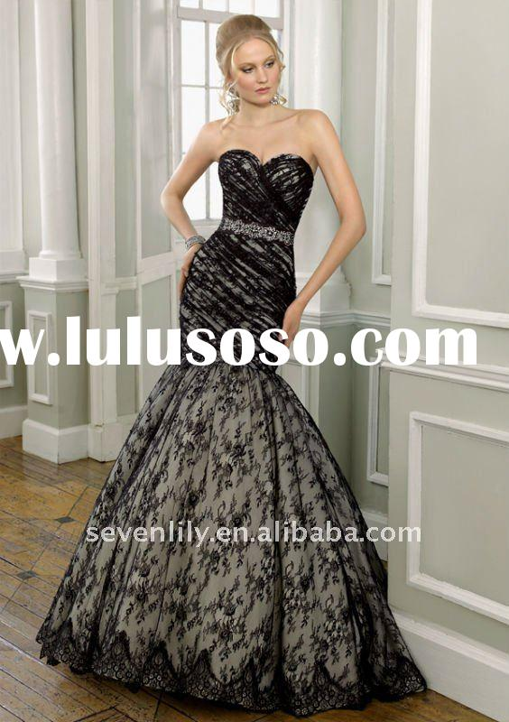 Latest 2011 lace red and black wedding dresses