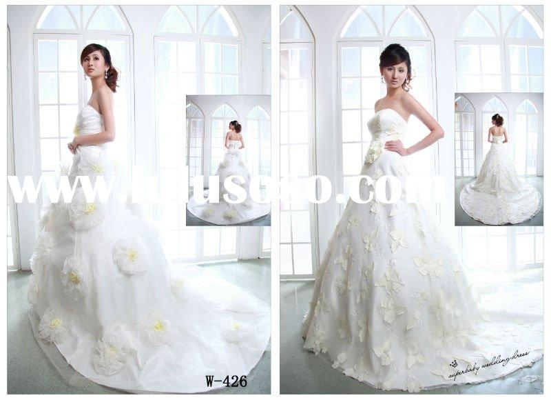 Latest design strapless ball gown W-426 beautiful wedding dress