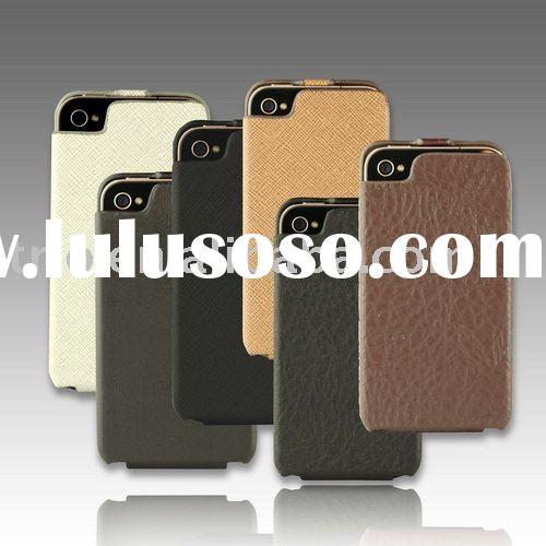 Leather hard mobile phone case for iPhone 4