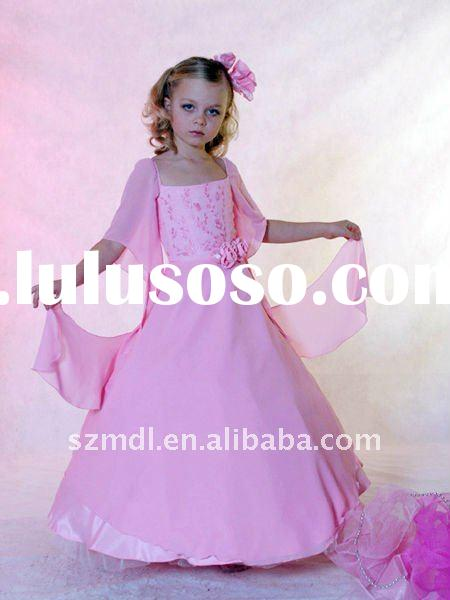 Little Princess Pink Satin Spaghetti Straps Puffy Hemline Flower Girl Dress