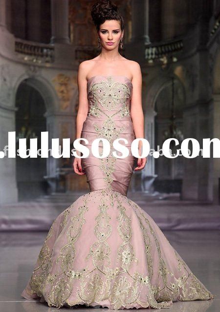 M080 2011 Unique mermaid luxury embroidery arabic evening dress