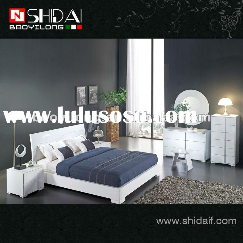 Modern simple design high gloss white paint bedroom sets B57