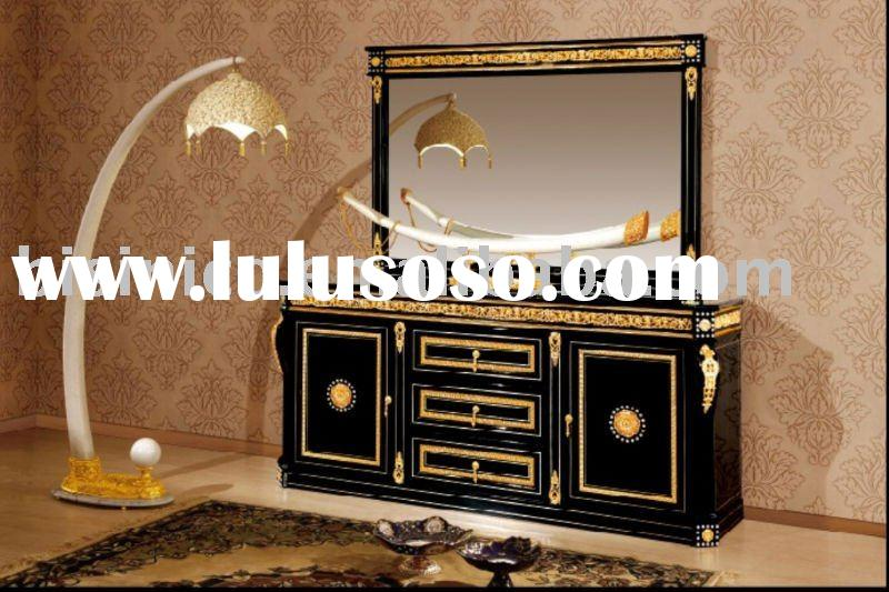 NEW ITEM-Luxury classical black& gold colour home sideboard,buffet with mirror,solid wood, hand